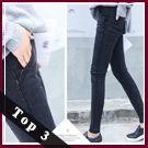 BOBO小中大尺碼【1024】中腰鬆緊紅線顯瘦窄管褲-S-5