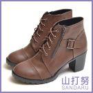 短靴 側拉鍊綁帶粗跟靴