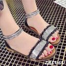 璀璨閃耀一字帶水鑽繫踝平底涼鞋-
