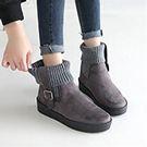 正韓製-方扣襪套踝靴