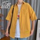 短袖襯衫 春夏馬卡龍口袋五分袖襯衫