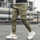 縮口褲 側邊口袋標帶休閒工作褲