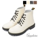 馬丁靴 綁帶圓頭皮革短靴
