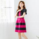 現貨 洋裝 台灣製 小外套假兩件條紋裙洋裝 二色-ebuy衣