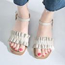韓版氣質荷葉邊平底繫帶涼鞋-米白/黑色