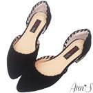 立體滾邊車線側空平底尖頭鞋