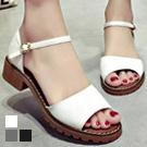 清新素雅一字釦低跟涼鞋