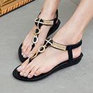 水鑽圓扣平底涼鞋
