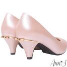 質感羊紋金色立體小蝴蝶結低跟圓頭包鞋