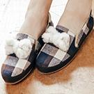 英倫風格紋毛球蝴蝶結休閒鞋懶人鞋