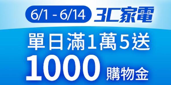 3C家電日單日消費滿一萬五