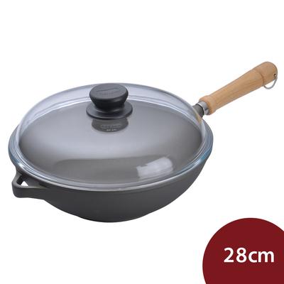 德國Berndes寶迪 Bonanza 木柄不沾鍋中式炒鍋+蓋28cm電磁爐不可用