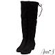 Ann'S正常版-名模後蝴蝶結側拉鍊貼腿過膝靴-細絨黑 product thumbnail 1