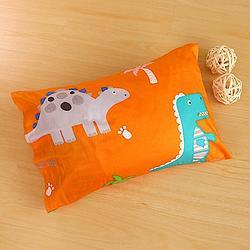 防蹣抗菌 恐龍公園橘-兒童透氣纖維枕
