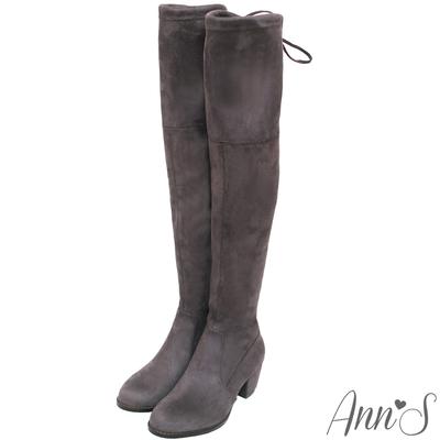 Ann'S正常版-名模後蝴蝶結側拉鍊貼腿過膝靴-細絨灰