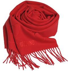 MOSCHINO 義大利製美麗諾羊毛繽紛愛心刺繡圖騰字母LOGO刺繡披肩/圍巾(紅色) @ Y!購物