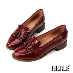 HERLS-全真皮復古流蘇樂福鞋-酒紅色-36