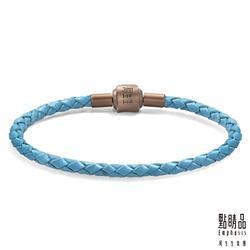 電鍍磁石皮繩 - 粉藍色