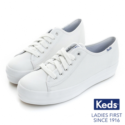Keds 個性時尚厚底綁帶皮質休閒鞋-白