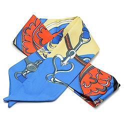 2R 時尚絲巾配件 96cm 心鍊-深藍色系