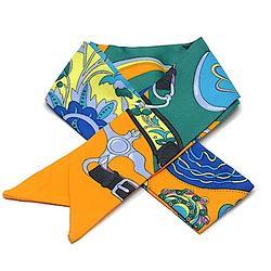 2R 時尚絲巾配件 96cm 心鍊-淺藍色系