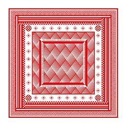 經典圖紋方巾 - 紅