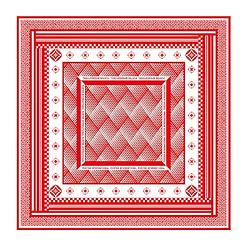 PORTER - 經典圖紋方巾 - 紅