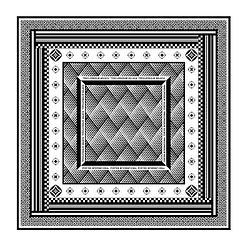 經典圖紋方巾-黑