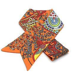 2R 時尚絲巾配件 96cm 森林-橙色系
