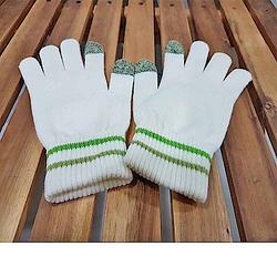 可觸控手套-乳白色系配草綠色觸控-M/L