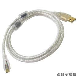5P 透明MICRO USB雙磁環鍍金接頭連接線