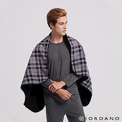 【加價購】GIORDANO保暖格紋刷毛毯-黑灰格紋