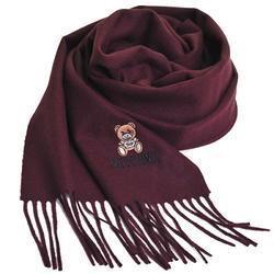 MOSCHINO 義大利製美麗諾羊毛小熊圖騰字母LOGO刺繡圍巾(酒紅色) @ Y!購物