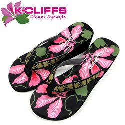 城市印象系列夏日夾腳涼鞋-豔紫荊黑L
