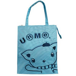 【UNME】繡花質感手提袋藍色