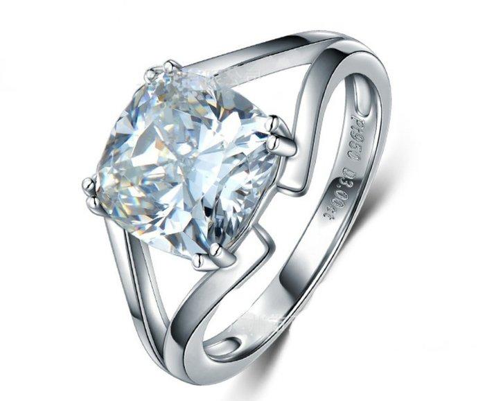 平面超薄款佩戴舒適結婚求婚戒指女鑽石3克拉犒賞自己 韓版飾品 精工爪鑲單碳原子鑽戒純銀鍍鉑金指環莫桑鑽寶特價優惠熱賣