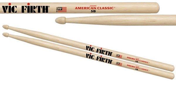 ☆ 唐尼樂器︵☆美國製 VIC FIRTH AMERICAN CLASSIC 5B 胡桃木爵士鼓鼓棒(原木色/黑色)