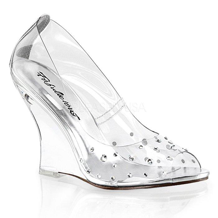 Shoes InStyle《四吋》美國品牌 FABULICIOUS 原廠正緞面水鑚透明楔型高跟魚口鞋 有大尺碼『銀白色』