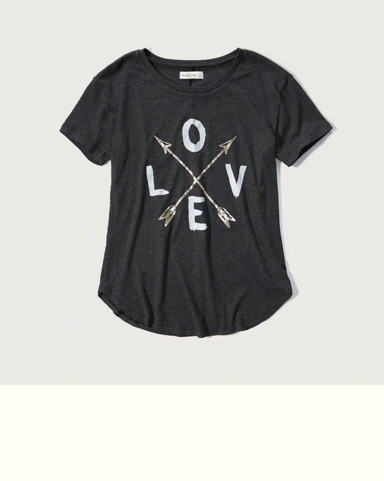 《Cupio》現貨 A&F Abercrombie Fitch Love Graphic Tee 圓領短T(XS)