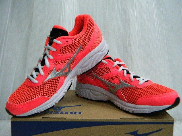 新莊新太陽 MIZUNO 美津濃 SPARK K1GA160407 一般型鞋款 女 跑步 慢跑鞋 粉橘紅X銀 特1500
