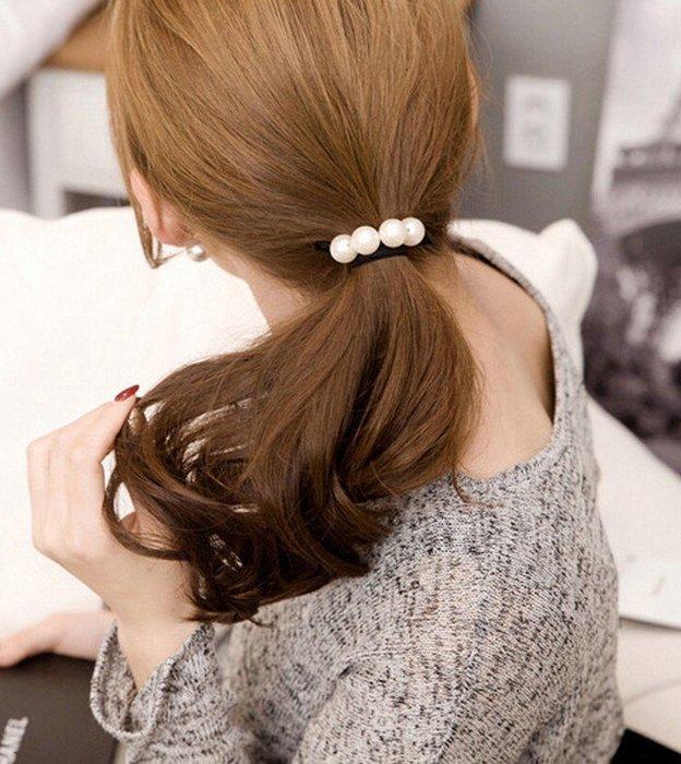 髮飾 現貨 韓國 熱賣 氣質 美女必備 百搭 手作 珍珠 打結 髮束K7212 單個價 Danica 韓系飾品 韓國連線