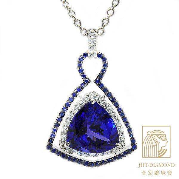【JHT金宏總珠寶/GIA鑽石專賣】9.62克拉丹泉石鑽石墜鍊/藍寶:0.63克拉/材質:18K附證(JB38-A33)