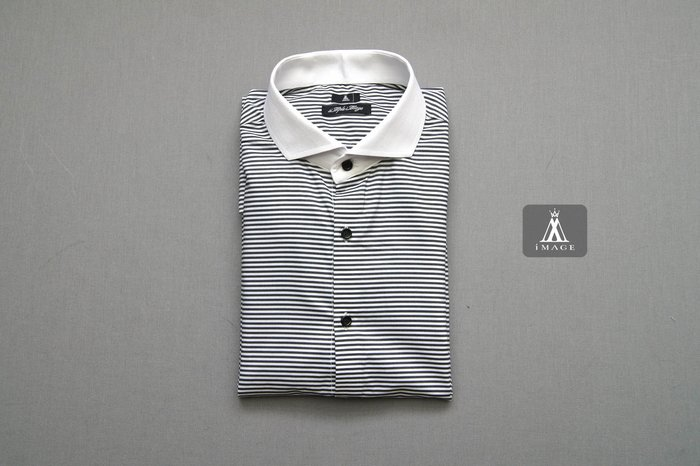 SIMPLE IMAGE(手工製作) 歐洲品味紳士風格橫條紋白領襯衫A678