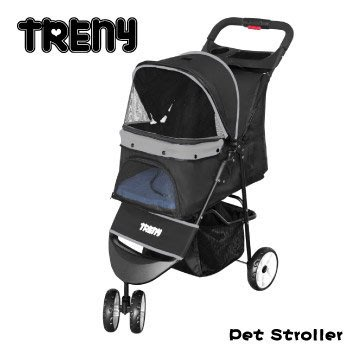 【TRENY直營】TRENY 快速收合 高級寵物推車-灰 附杯架跟置物籃 寵物車 狗推車 貓推車  YB501-G