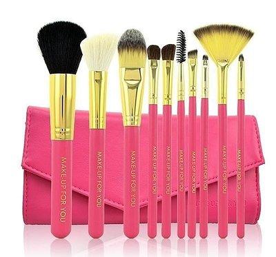 【愛來客 】動物毛10支化妝刷套組 彩妝工具粉底刷腮紅刷 黑.枚紅.天藍.粉紅色4色可選