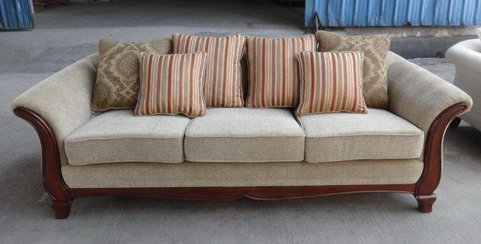 OUTLET限量低價出清美生活館--全新 歐式 古典 卯釘出木 緹花布 1+2+3 整組 沙發 -型號105-2
