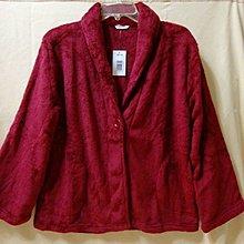 MKMC 美國專櫃 珊瑚絨 法蘭絨 睡衣 上衣 外套 前開式 鈕扣 寬鬆舒適 酒紅色 加厚