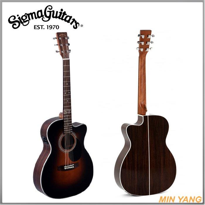 【民揚樂器】民謠吉他 SIGMA OMMRC-1STE 面單板 側背玫瑰木 附EQ 木吉他