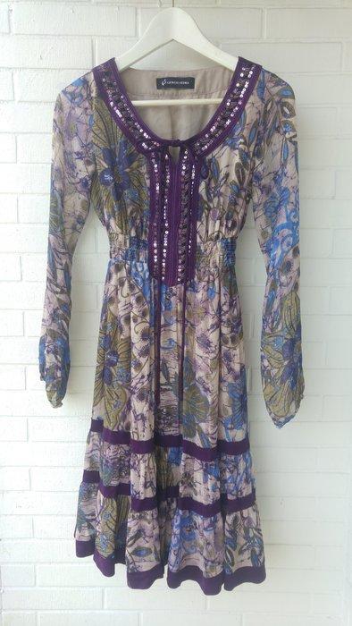 $3999起標 GIORGIO SEDRA 民俗風波西米亞亮片飾V領印花洋裝
