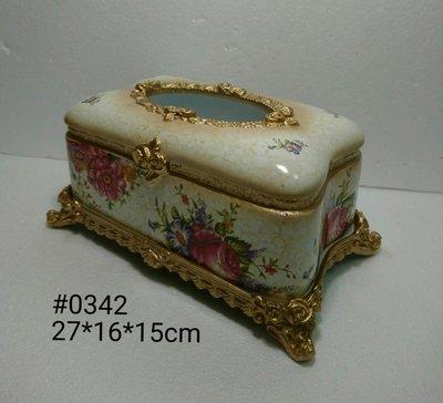 美生活館--- 全新 古典 高溫陶 長方型 金色仿舊雕刻 白色底 金黃色玫瑰花花朵 面紙盒/收納盒